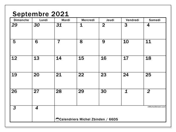 Calendrier septembre 2021, 66DS. Calendrier gratuit à imprimer.