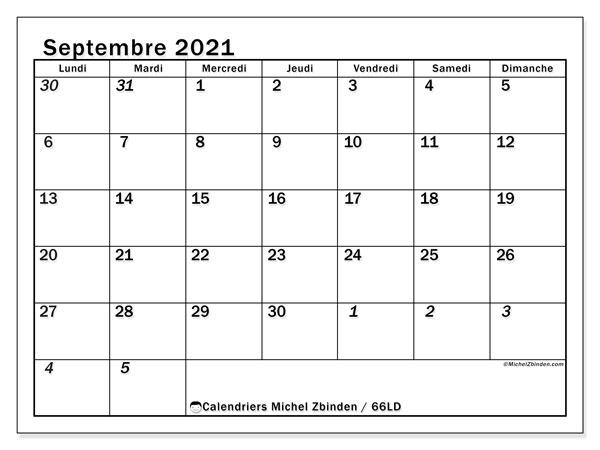 Calendrier septembre 2021, 66LD. Calendrier gratuit à imprimer.