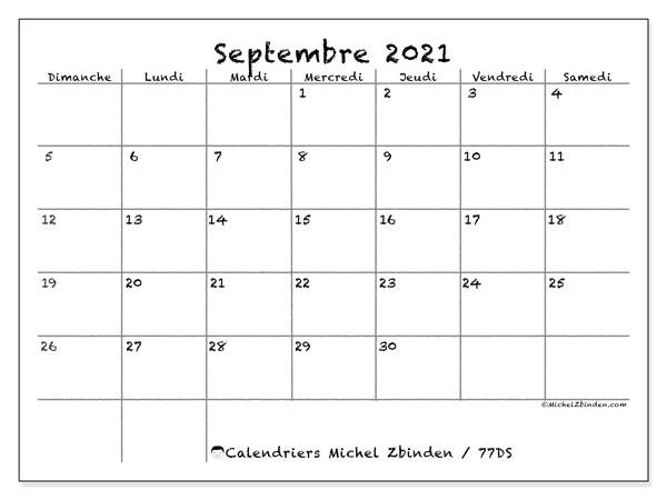 Calendrier septembre 2021, 77DS. Calendrier imprimable gratuit.