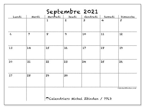 "Calendrier Familial 2021 A Imprimer Calendrier ""77LD"" septembre 2021 à imprimer   Michel Zbinden FR"