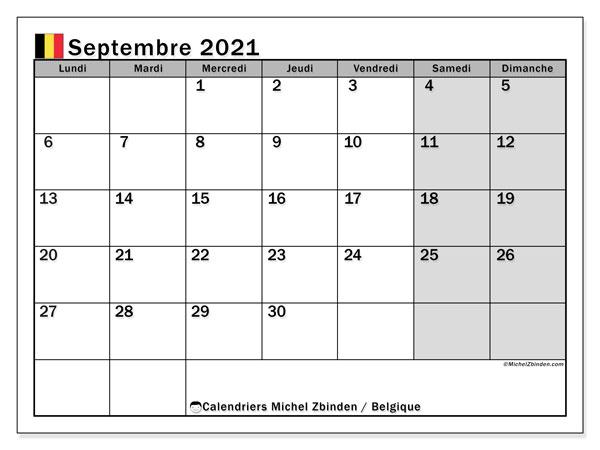 Calendrier septembre 2021, avec les jours fériés de la Belgique. Calendrier à imprimer gratuit avec jours fériés.