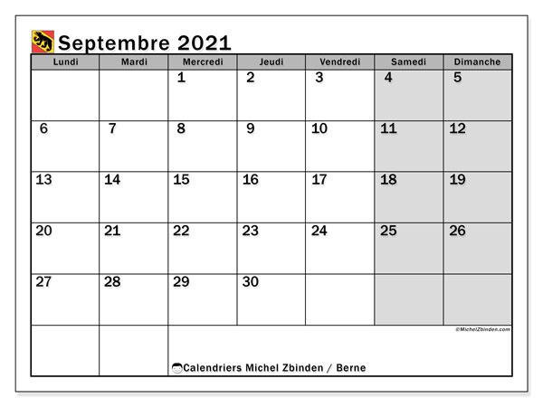 Calendrier septembre 2021, avec les jours fériés du Canton de Berne. Calendrier Fêtes et jours fériés à imprimer gratuit.