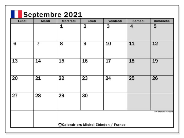 """Calendriers septembre 2021 """"Jours fériés""""   Michel Zbinden FR"""