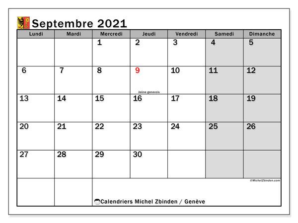 Calendrier septembre 2021, avec les jours fériés du Canton de Genève. Calendrier Fêtes et jours fériés à imprimer gratuit.