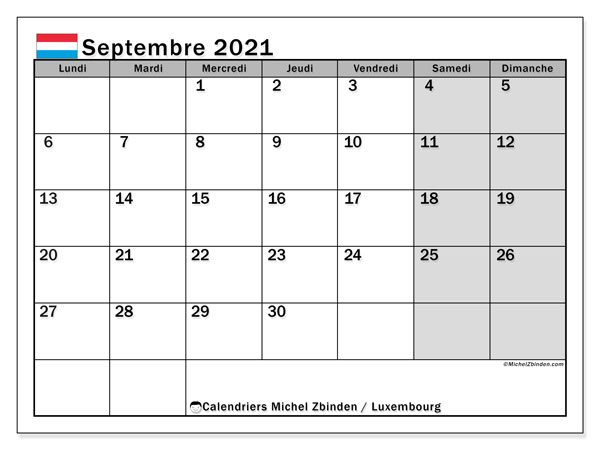 "Calendrier ""Luxembourg"" septembre 2021 à imprimer   Michel Zbinden FR"