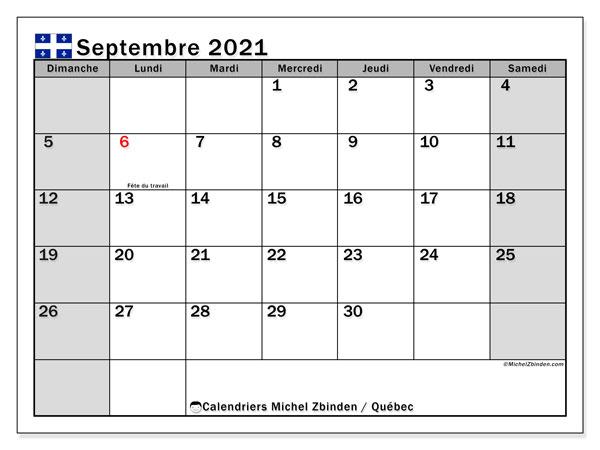 "Septembre 2021 Calendrier Calendrier ""Québec"" septembre 2021 à imprimer   Michel Zbinden FR"