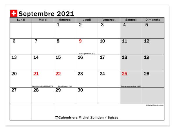"""Calendrier Suisse 2021 Calendrier """"Suisse"""" septembre 2021 à imprimer   Michel Zbinden FR"""