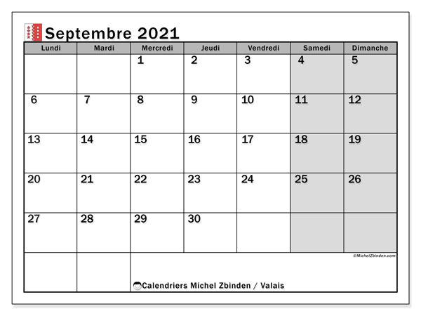 Calendrier septembre 2021, avec les jours fériés du Canton du Valais. Calendrier Fêtes et jours fériés à imprimer gratuit.