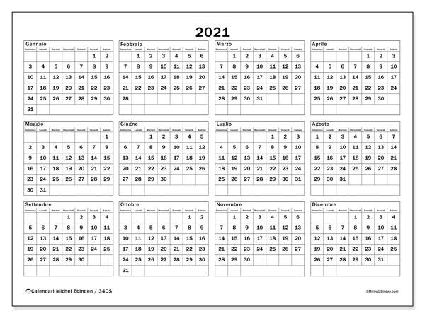 Calendario 2021, 34DS. Calendario stampabile gratuito.