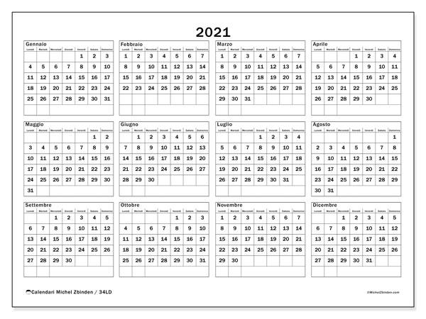 Calendario 2021, 34LD. Calendario stampabile gratuito.