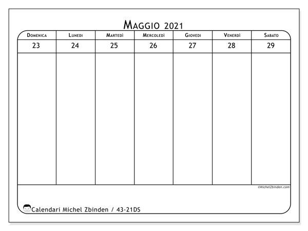 Calendario 2021, 43-21DS. Calendario per la stampa gratis.