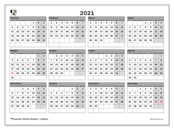 Calendario 2021, con giorni festivi dei Grigioni. Calendario da stampare gratuita con giorni festivi.