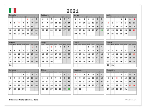 "Calendario ""Italia"" 2021 da stampare   Michel Zbinden IT"