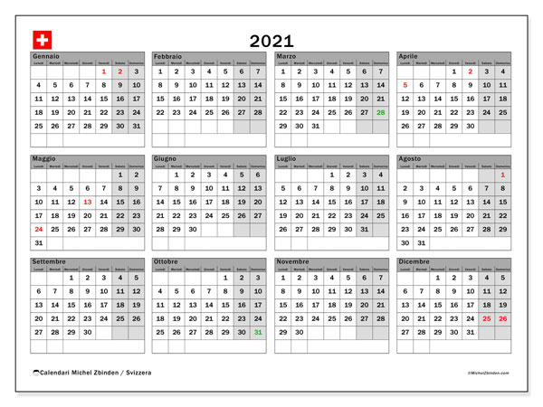"Calendario ""Svizzera"" 2021 da stampare   Michel Zbinden IT"