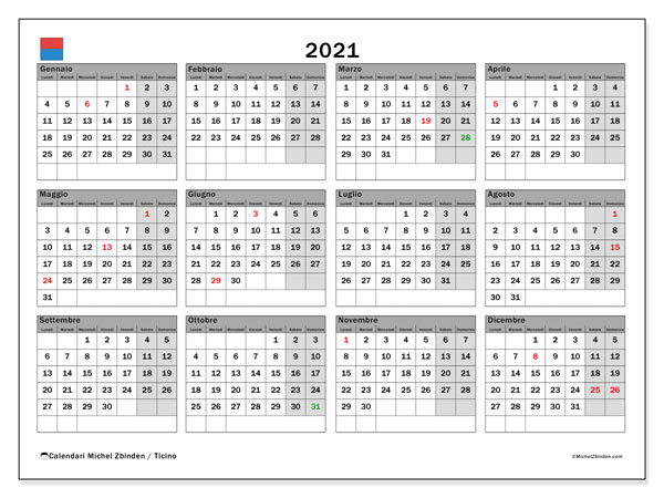 "Calendario ""Cantone Ticino"" 2021 da stampare   Michel Zbinden IT"