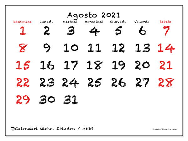Calendario agosto 2021, 46DS. Calendario mensile da stampare gratuitamente.