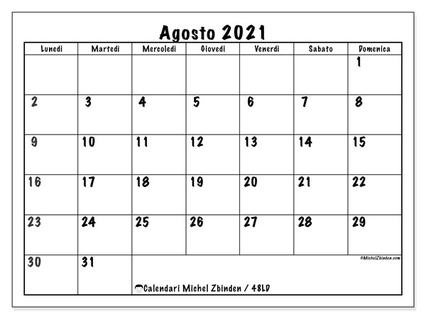 "Calendario ""48LD"" agosto 2021 da stampare   Michel Zbinden IT"