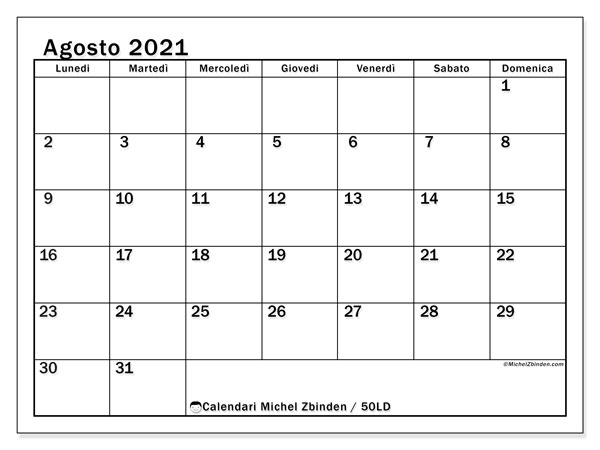 "Calendario ""50LD"" agosto 2021 da stampare   Michel Zbinden IT"