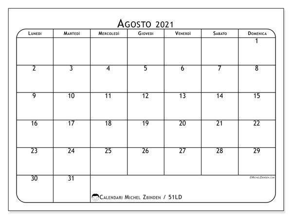 Calendario agosto 2021, 51LD. Calendario per la stampa gratis.