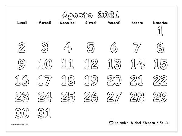 Calendario agosto 2021, 56LD. Calendario per la stampa gratis.