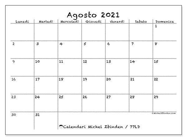 "Calendario ""77LD"" agosto 2021 da stampare   Michel Zbinden IT"