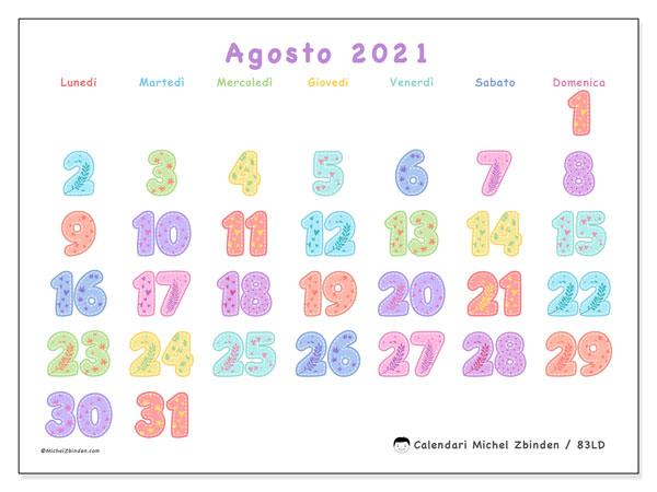 Calendario agosto 2021, 83LD. Calendario stampabile gratuito.