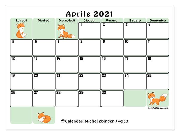 Calendario aprile 2021, 49LD. Calendario per il mese da stampare gratuitamente.