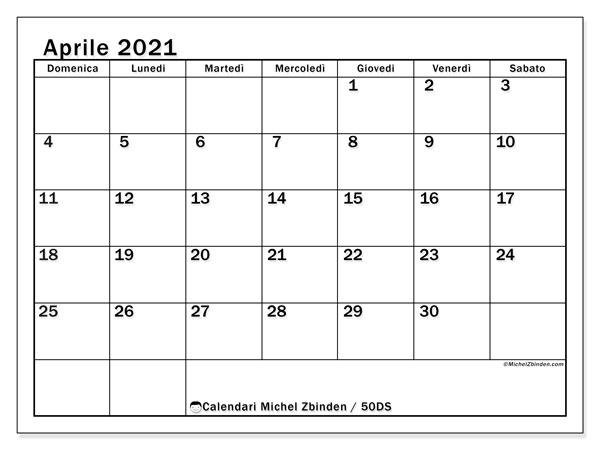Calendario aprile 2021, 50DS. Calendario gratuito da stampare.