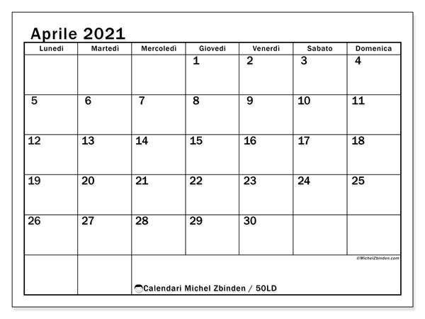 Calendario aprile 2021, 50LD. Orario da stampare gratis.