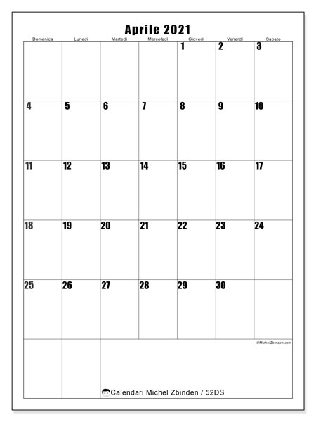 """Calendario Aprile 2021 Verticale Calendario """"52DS"""" aprile 2021 da stampare   Michel Zbinden IT"""