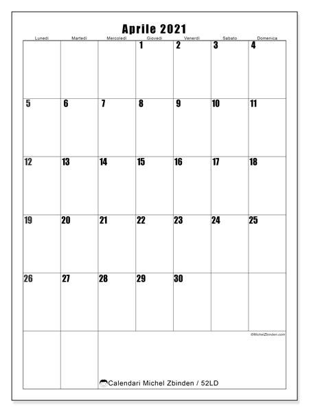 Calendario aprile 2021, 52LD. Calendario gratuito da stampare.