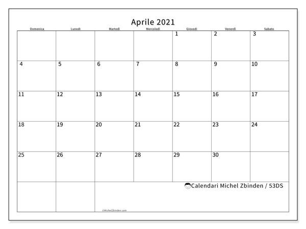 Calendario aprile 2021, 53DS. Calendario stampabile gratuito.