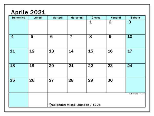 Calendario aprile 2021, 59DS. Calendario stampabile gratuito.