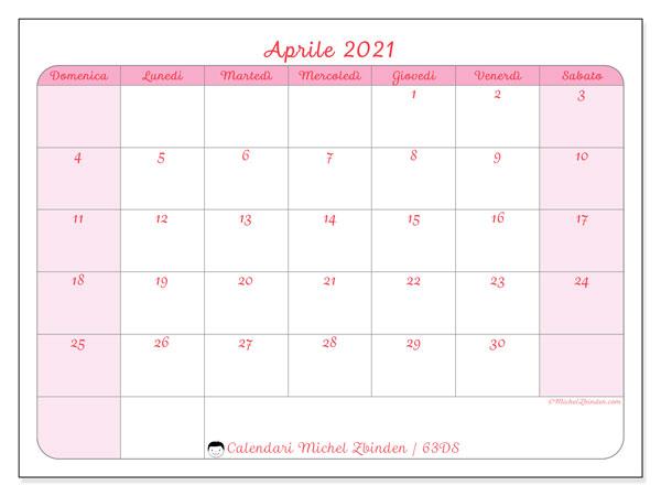 Calendario aprile 2021, 63DS. Calendario da stampare gratis.