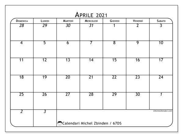 Calendario aprile 2021, 67DS. Orario da stampare gratis.