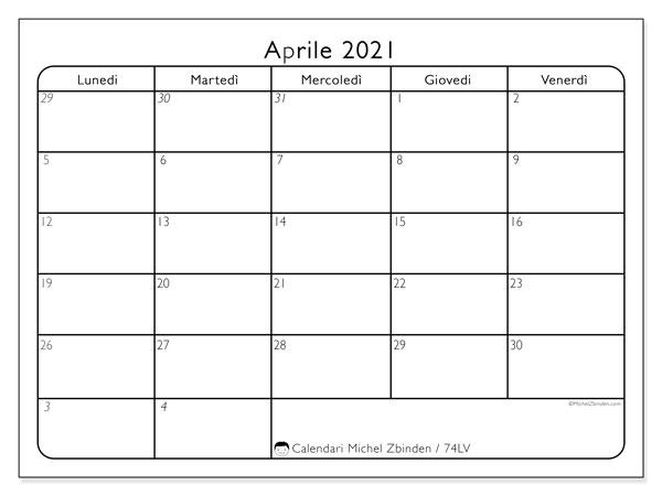 Calendario aprile 2021, 74LD. Calendario da stampare gratis.