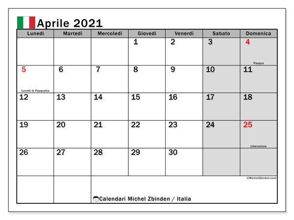 """Calendario Aprile 2021 Italia Calendario """"Italia"""" aprile 2021 da stampare   Michel Zbinden IT"""