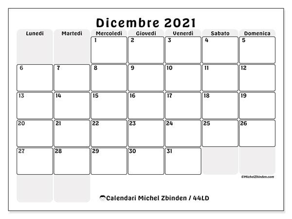 Calendario dicembre 2021, 44LD. Calendario da stampare gratis.