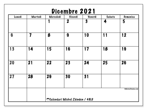 "Calendario ""48LD"" dicembre 2021 da stampare   Michel Zbinden IT"