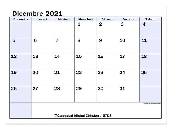 Calendario dicembre 2021, 57DS. Calendario stampabile gratuito.