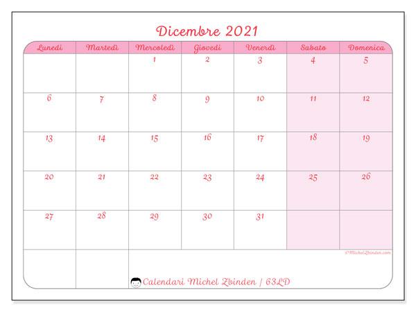 Calendario dicembre 2021, 63LD. Calendario da stampare gratis.