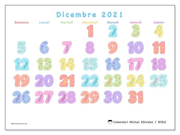 Calendario dicembre 2021, 83DS. Calendario gratuito da stampare.