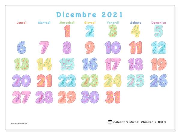 Calendario dicembre 2021, 83LD. Calendario da stampare gratis.