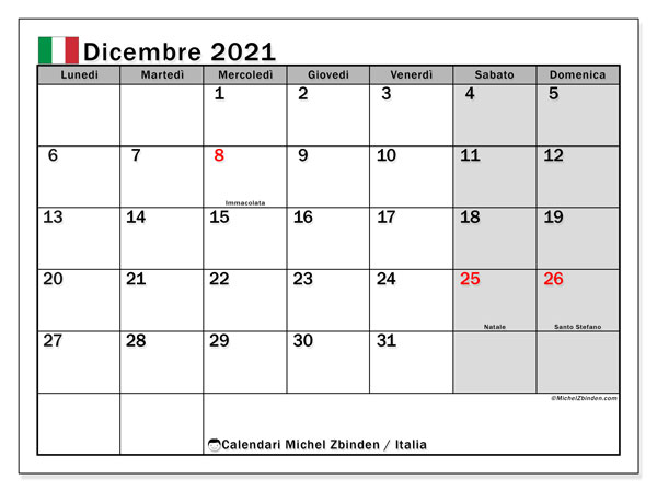 Calendario dicembre 2021   Italia   Michel Zbinden IT