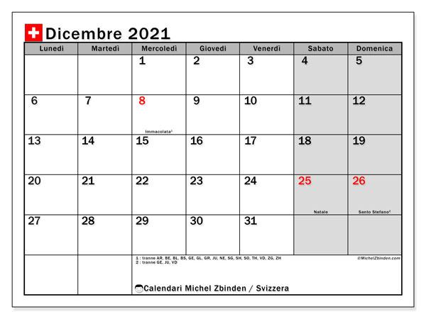 Calendario dicembre 2021, con giorni festivi della Svizzera. Calendario Vacanze e festività per stampare gratuitamente.