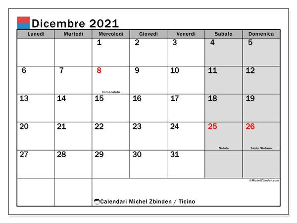Calendario dicembre 2021, con giorni festivi in Ticino. Calendario da stampare gratuita con giorni festivi.