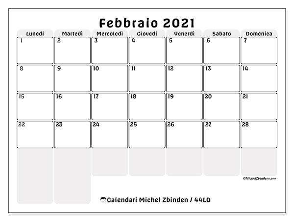 "Calendario ""44LD"" febbraio 2021 da stampare   Michel Zbinden IT"