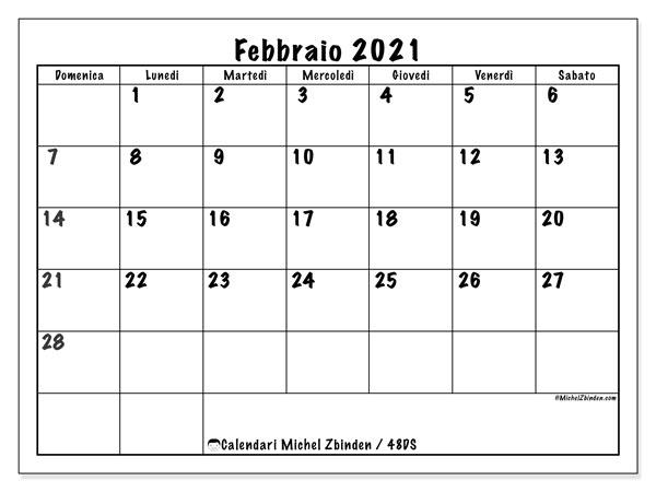 "Calendario ""48DS"" febbraio 2021 da stampare   Michel Zbinden IT"