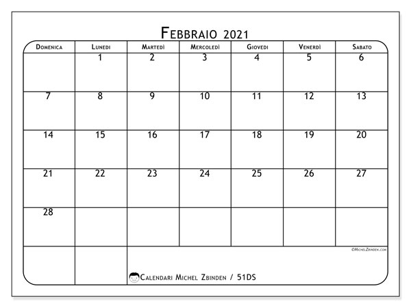 Calendario febbraio 2021, 51DS. Calendario per il mese da stampare gratuitamente.