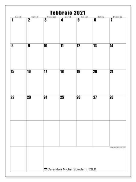 Calendario febbraio 2021, 52LD. Calendario stampabile gratuito.